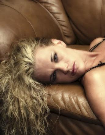 Blond in black lingerie